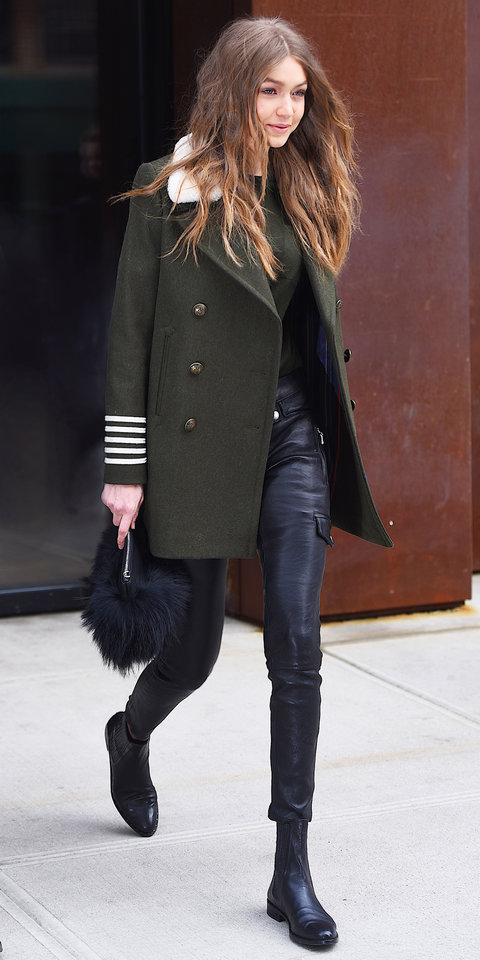 Gigi Hadid In Military And Leather